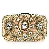 JIWEIER Hermoso Bolsos de Tarde Los Cristales de Las Mujeres/Perlas de poliéster/Noche de Seda Bolsa Champagne Color sólido (Color : Champagne)