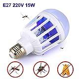 Outgeek Bug Zapper Light Bulb E27 Socket 15W UV Light Mosquito Killer Lamp for Home