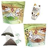 ねこ茶 ティーバッグ 釣り (深蒸し茶・ほうじ茶) 敬老の日 可愛い お茶 ギフト セット 誕生日 プレゼント 猫のフィギュア付き