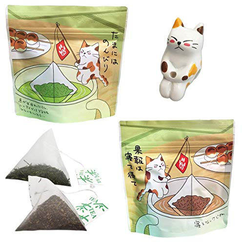 ねこ茶 ティーバッグ 釣り (深蒸し茶・ほうじ茶) お中元 可愛い お茶 ギフト セット 誕生日 プレゼント 猫のフィギュア付き