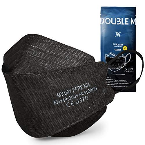 DOUBLE M Mascarillas FFP2 NR Certificación CE 0370 Uso Personal 3, 5, 10, 20, 50 o 100 pcs,filtración ≥ 95%, comoda ligera, Filtro Multicapa, Uso Personal, Mascarillas Facial Protección