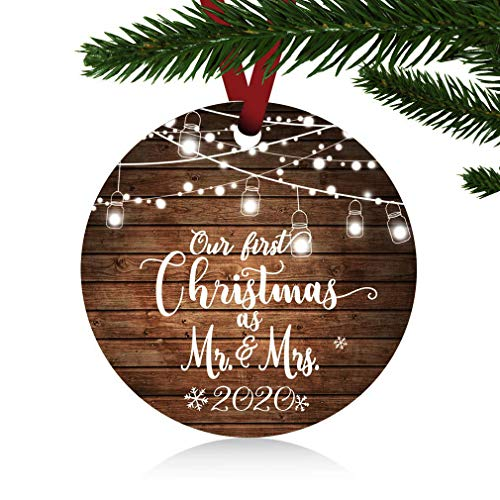 ZUNON First Christmas Ornaments 2020 Our First Christmas as Mr & Mrs Couple Married Wedding Decoration 3' Ornament (Christmas Ornaments Mr Mrs)