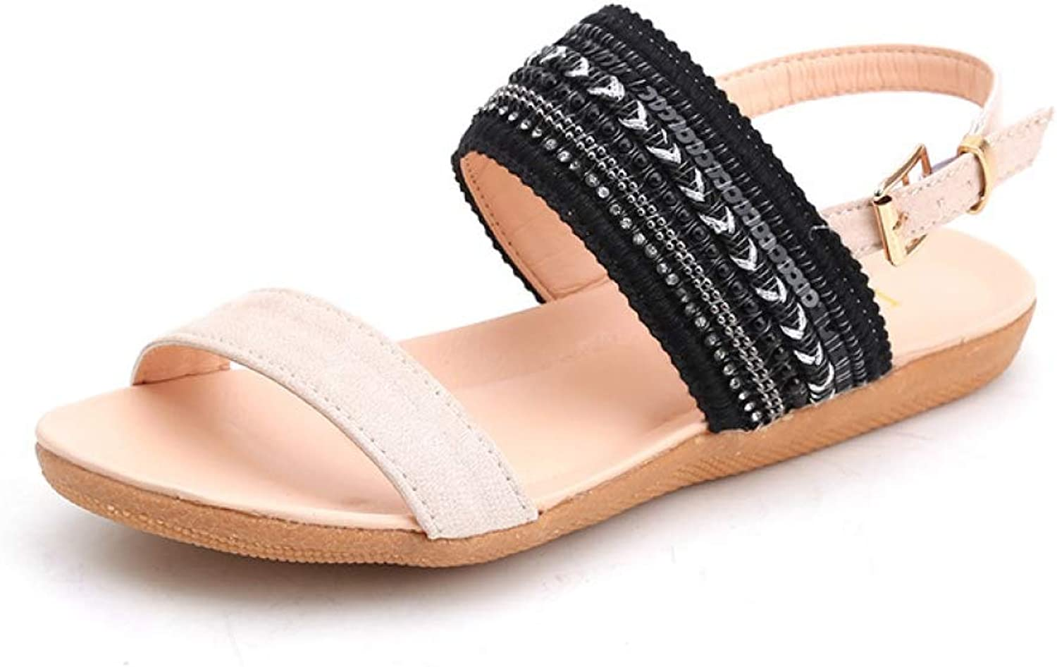 Hoxekle Women Sandals Crystal Summer shoes Slip-On Flats Back Strap Peep Toe shoes Ladies Casual Sandal