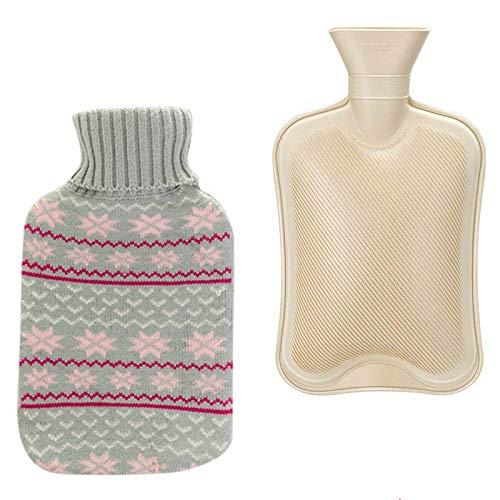 Remebe Juego de calentador de botellas de agua caliente de goma de 1,8 litros, tejido de copo de nieve nordico, funda extraible, ideal para aliviar el dolor, terapia de frio y calor