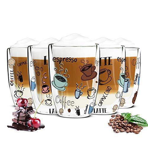 Sendez 6 doppelwandige Cappuccino Gläser 200ml mit 6 Löffel Kaffegläser Teeglas Thermogläser Bunter Kaffee-Aufdruck
