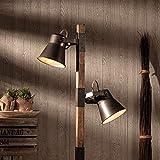 Lámpara de pie rústica, 2 focos, 2 bombillas E27 máx. 10 W, metal y madera, color negro acero y madera.