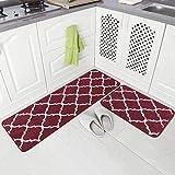 Carvapet 2 Pieces Microfiber Moroccan Trellis Non-Slip Soft Kitchen Mat Bath Rug Doormat Runner Carpet Set, 17'x48'+17'x24', Red