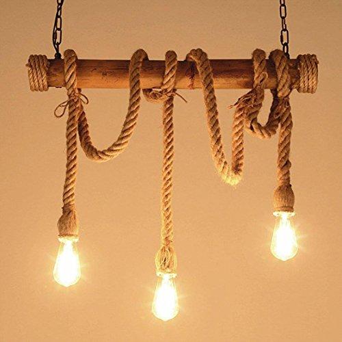 Hanglamp hanglamp Romantische retro henneptouw industriële decoratieve lamp verlichting strijkijzer kroonluchter lamp lamp in hoogte verstelbaar voor woonkamer restaurants dakkoffer lounge kelder E27 LED