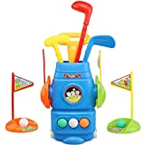 Toy Life Kids Golf Clubs | Todder Golf Set | Sports Toys for Toddlers | Comes with 1 Iron, 1 Wood, 1 Putter, 2 Flags, 2 Cups, & a Rolling Golf Bag for Children Ages 2 3 4 5 6
