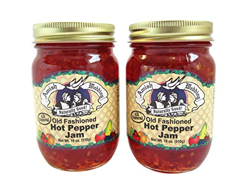 Amish Wedding All Natural Old Fashioned Hot Pepper Jam 18 Ounces (Pack of 2)