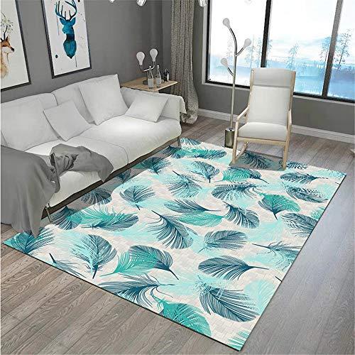 Teppich esstisch blau Salon Teppichblau unordentlicher Kleiner Federmuster Anti-Rutsch-Teppich leicht zu reinigen Anti rutsch Teppich 50X80CM Teppich Outdoor 1ft 7.7''X2ft 7.5''