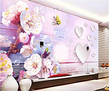 Whian 3d Wallpaper Mural Living Room Bedroom Pink Purple Warm Peach Painting Picture Wall Sticker 240cmx180cm 94 48 In X70 86 In Amazon Com