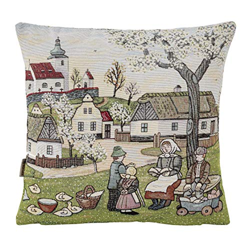 Hesta Kissenbezug Bauernhof I, Gobelin Jacquard, 45x45 cm - Qualität und Textiltradition aus Südtirol - 401 0136 1