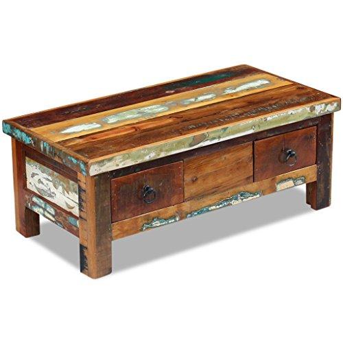 Festnight Tavolino da caffè con Cassetti in Legno/Tavolino Salotto Massello Recuperato 90x45x35 cm