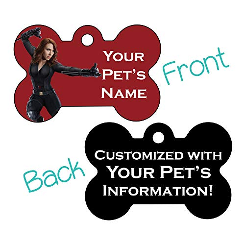Marvel Disney Double Sided Pet Id Dog Tags | Personalized for Your Pet (Black Widow, Bone Shaped)
