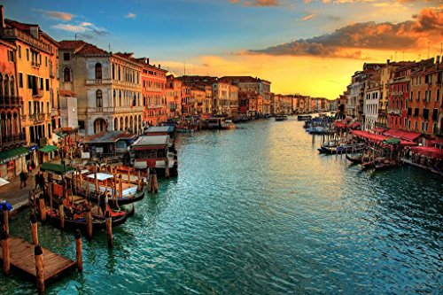 Sunset in Venice Italy Europe Photo Photograph Cool Wall Decor Art Print Poster 36x24
