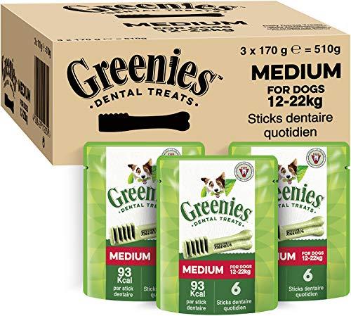 GREENIES Original Medium – Friandises à mâcher pour chien moyen – 18 sticks pour une bonne hygiène bucco-dentaire – 3 sachets de 170g