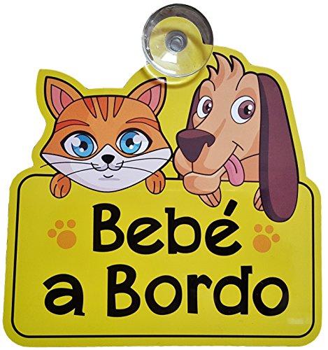 Bebé A Bordo coche señal con ventosa – Hace otros controladores consciente de que tiene un niño o bebé a bordo para proporcionar una conducción más segura medio ambiente – Amarillo brillante color con Bold letras – Único diseño de gato y perro