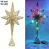 Twinkle Star Lighted Christmas Tree Topper, Bethlehem Star Treetop with 10 LED Colorful Fairy Lights, Holiday Christmas Tree...