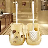 WANDOM Toilet Brush Set Continental Home Toilet Brush Creative Toilet Cleaning Brush The Base with A Soft Bristle Clean Toilet Brush Rich-Yellow Flowersy13-Dj3642107841