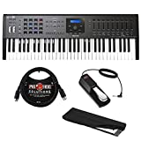 Arturia KeyLab MKII 61 Professional MIDI Controller and Software (Black) with 6ft MIDI Cable, Sustain Pedal & Keyboard Dust Cover (Medium) Bundle