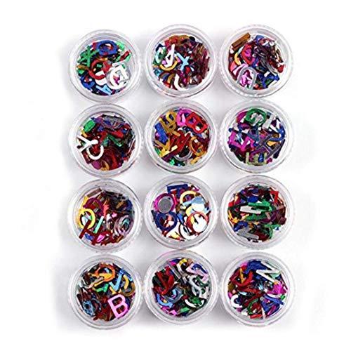 12 bouteilles Nail Art Stickers mixtes Couleurs Lettre Alphabet Glitters tranches Nail Art bricolage Décor