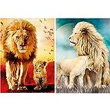 Zariocy - Juego de 2 paquetes de pintura de diamante redondo con diseño de león de la familia por números, pintura de césped con diamantes de imitación bordados, 30 x 40 cm