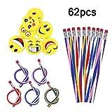 ZJW 30 Piezas de lápices Flexibles Flexibles Suaves y Suaves, 32 Piezas de Goma de borrar Smiley Emoji, Juguetes, Equipos estacionarios Escolares, Suministros de Regalos para Fiestas de cumpleaños