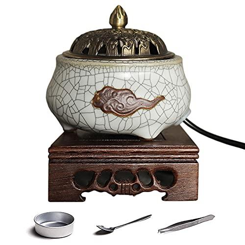 Quemador Incienso,Adorno de cerámica para aromaterapia,Incensario de Carbón de Porcelana,para Yoga Sala De Meditación Casa U Oficina