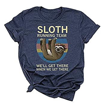 Beopjesk Women s Sloth Running Team T Shirt Short Sleeve I Hate People Graphic Tees Tops