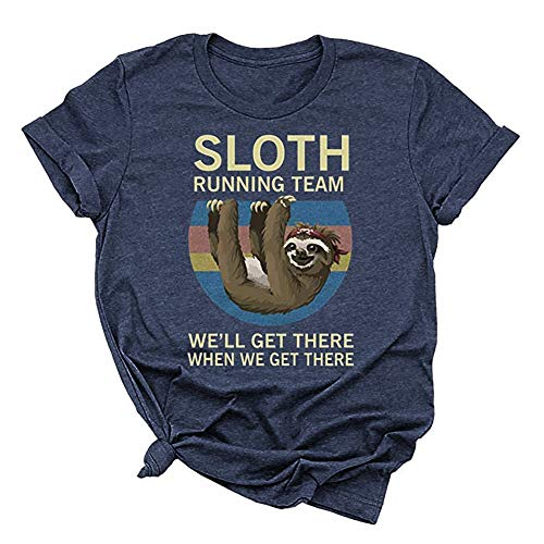 Beopjesk Women's Sloth Running Team T Shirt Short Sleeve I Hate People Graphic Tees Tops