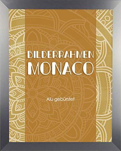 Homedeco-24 Monaco MDF Bilderrahmen ohne Rundungen 30 x 43 cm Größe wählbar 43 x 30 cm Alu Gebürstet mit Acrylglas klar 1 mm