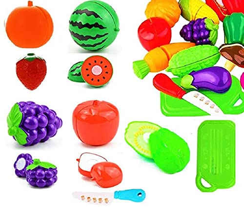 Kid Zone Realistic Sliceable Fruits and Vegetables Cutting Play Kitchen Set Toy (7 pcs Set) with Fruits, Knives and Cutting Boards for Kids