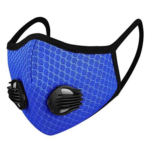 Auifor Carbón activado con válvula para filtrar el polvo de polen Correas para los oídos libremente ajustables, unisex negro/azul(Azul,1 PC)
