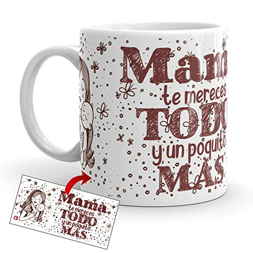 Kembilove Taza Desayuno para Madres – Tazas Originales Graciosas con Mensaje Mamá te mereces todo y u poquito más – Taza de Café y Té para Madres para regalar el día de la madre – Tazas de 350 ml