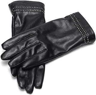 女性の革手袋秋と冬のファッションプラスベルベット暖かい滑り止めのタッチスクリーン革手袋の女性671141003黒