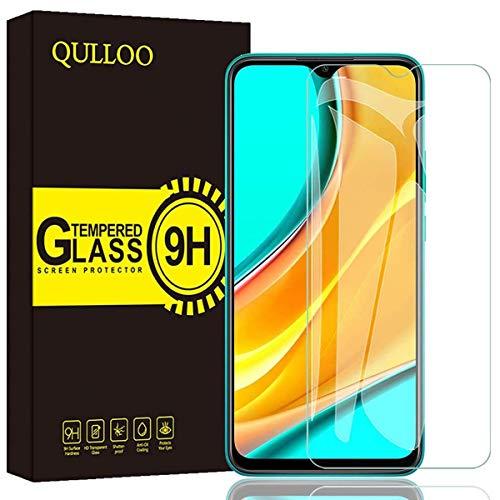【2枚】QULLOO Xiaomi Redmi 9 ガラスフィルム 強化ガラス 全面保護 硬度9H 飛散防止 指紋防止 自動吸着 気泡防止 Xiaomi Redmi 9 液晶保護フィルム