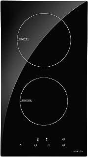 NOXTON Plaque de Cuisson à Induction Encastrable Cuiseur de Table électrique 2 foyers de Cuisson en Verre Noir Avec Capteu...