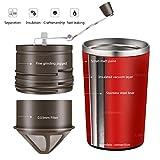 Moulin à café manuel et machine à café avec filtre portable de TDH, machine tout-en-un avec moulin à café, moulin à poivre, et tasse pour voyage , noir