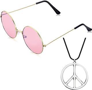 11367599a7 Bweele Gafas de Sol Redondas y Collar con el Signo de la Paz, Accesorios de