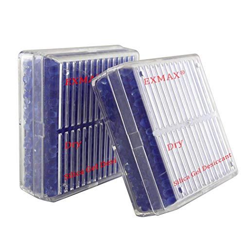 exmax® Funcional reutilizable Gel de Sílice desecante Humedad Humedad Absorbe Box secador cámara Microscopios telescopios–2Pack