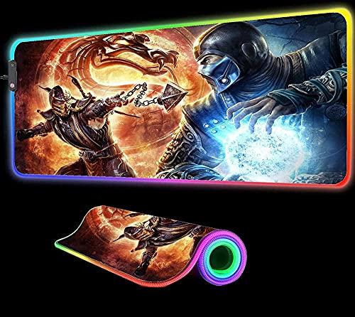 YYTTLL Alfombrillas De Ratón Mortal Kombat Alfombrilla De Ratón Luz para Ordenador RGB Retroiluminado De Goma Antideslizante Grande para Teclado De Escritorio Alfombrilla Led para PC800X300X4mm