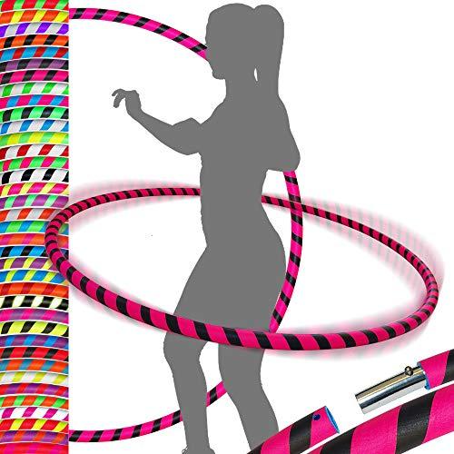 PRO Hula Hoops Reifen für Anfänger und Profis (Ultra-Grip) Faltbarer TRAVEL Hula Hoop ideal für Hoop Dance, Fitness Training, Zirkus & Festivals! - Größe 90cm / 20mm∅, Gewicht 400g (Schwarz / Rosa)