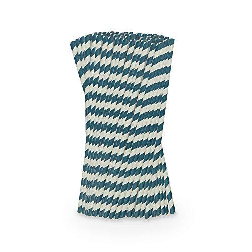 BIOZOYG umweltfreundliche Papier Jumbo Strohhalme Ø 0,8 cm I 2000 Trinkröhrchen Papier-Strohhalme blau gestreift 25 cm I Nachhaltige Jumbo Trinkhalme aus Papier Röhrchen biologisch abbaubar