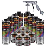 Custom Coat Tintable Base Only 2 Gallon (8 Quart) Urethane Spray-On Truck Bed Liner Kit with Spray Gun and Regulator - Easy 3 to 1 Mix Ratio, Just Mix, Shake and Shoot It -Textured Protective Coating
