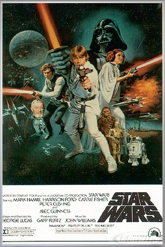 Star Wars Poster Style 'C' - American (93x62 cm) gerahmt in: Rahmen Silber matt