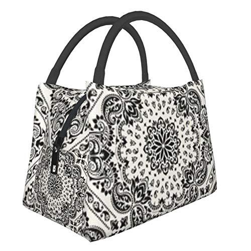 Bolsa de almuerzo portátil con aislamiento Cool (Ornament Paisley Bandana) 8.5L