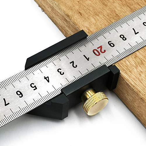 Streichmaß Anschlaglineal 30cm Anreißlineal Edelstahl linealanschlag Anreisswerkzeug mit extra stabilem Aluminiumlegierung Lineal Stabil für Handwerker und Heimwerker