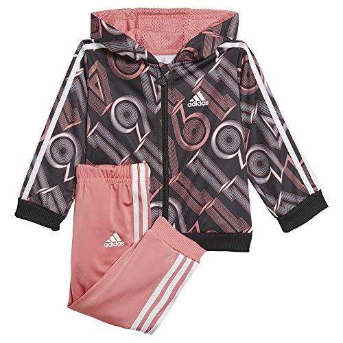 adidas GM8955 I Shiny 49 Jog Tuta da Ginnastica Unisex - Bimbi 0-24 Top:Hazy Rose/Black/White Bottom:Hazy Rose s21/white 3-4A