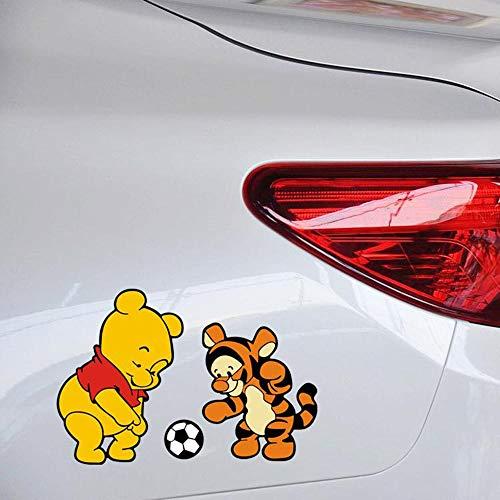 Autocollant Winnie L'ourson Winnie L'ourson Et Le Tigre Jouer Football Autocollant De Bande Dessinée De Football Et Décalque Pour Ford Focus Golf Peugeot Autocollants De Voiture
